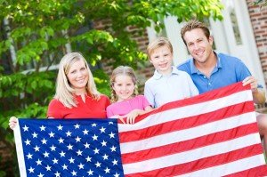 family-with-american-flag
