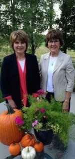 Marie Godfrey and Annette Perkes, two of Ida and Wallace Beutler's daughters. Both reside in North Logan and continue participation with the Pumpkin Walk.