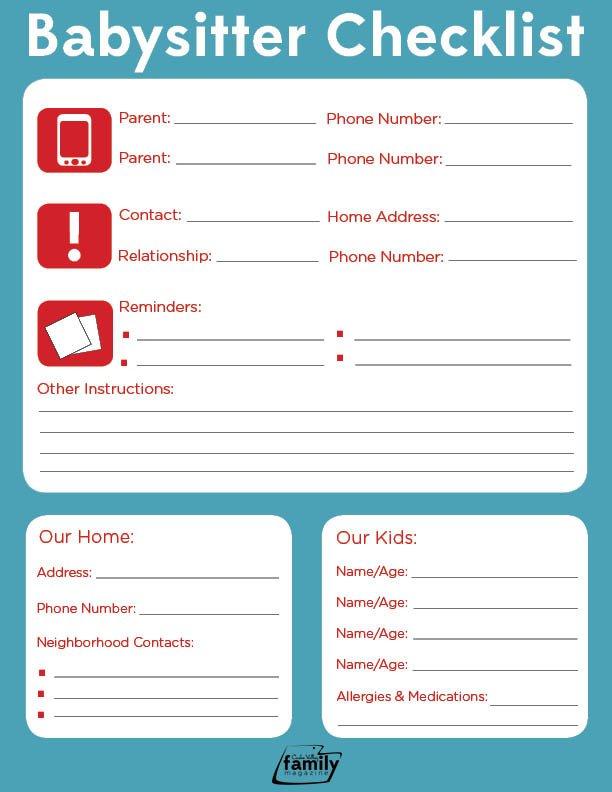 Babysitter Checklist Cache Valley Family Magazine