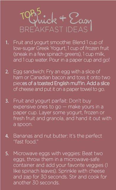 List of Easy Breakfast Ideas