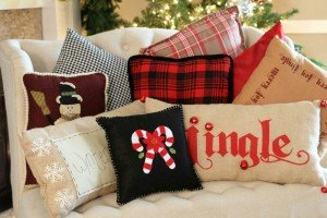 Holiday pillows on couch