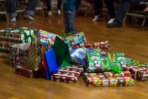 Wrapped gifts on the floor