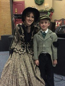 Mother and son dressed up for a play performance