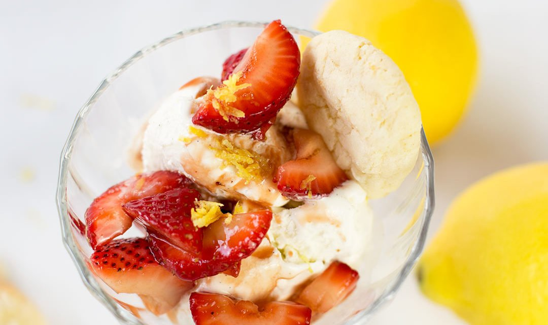 Balsamic Strawberries over Vanilla Bean Ice Cream