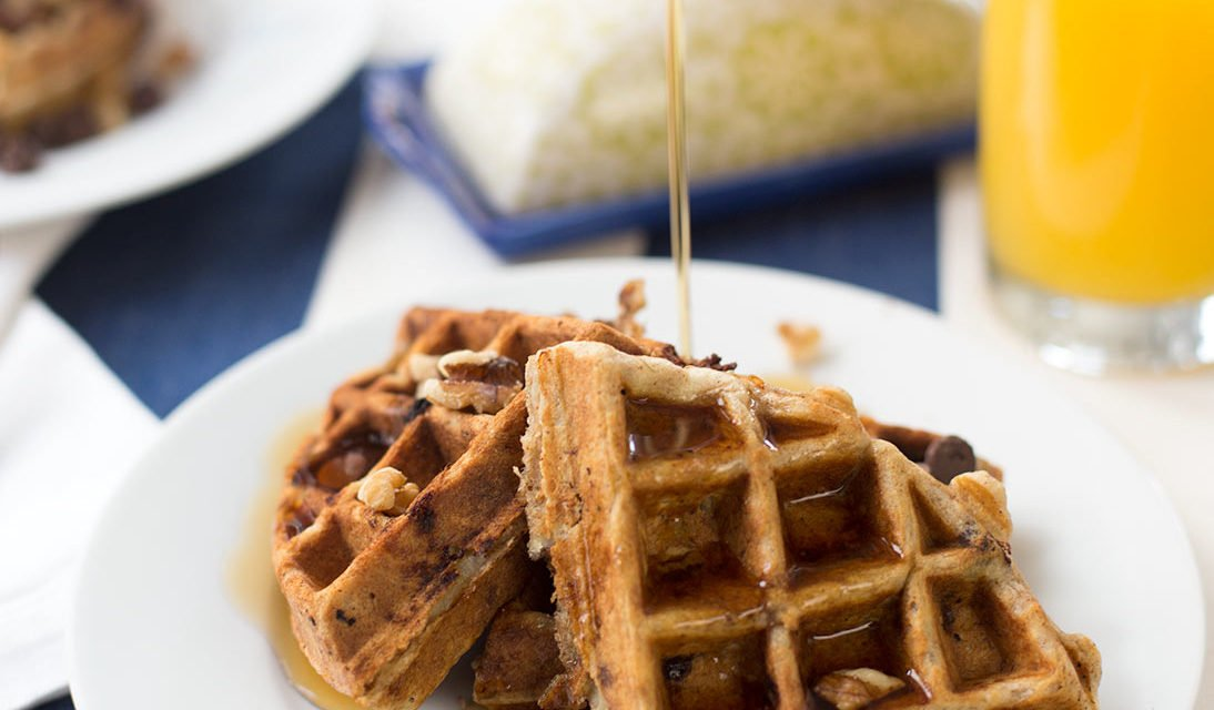 Chocolate Chip Banana Walnut Waffles