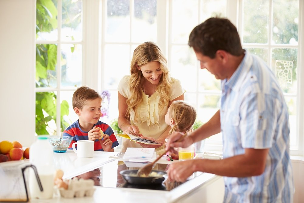 The Breakfast Battle: A Balanced Family Feeding Frenzy