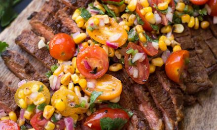 Chili Rubbed Flank Steak with Corn Tomato Salsa