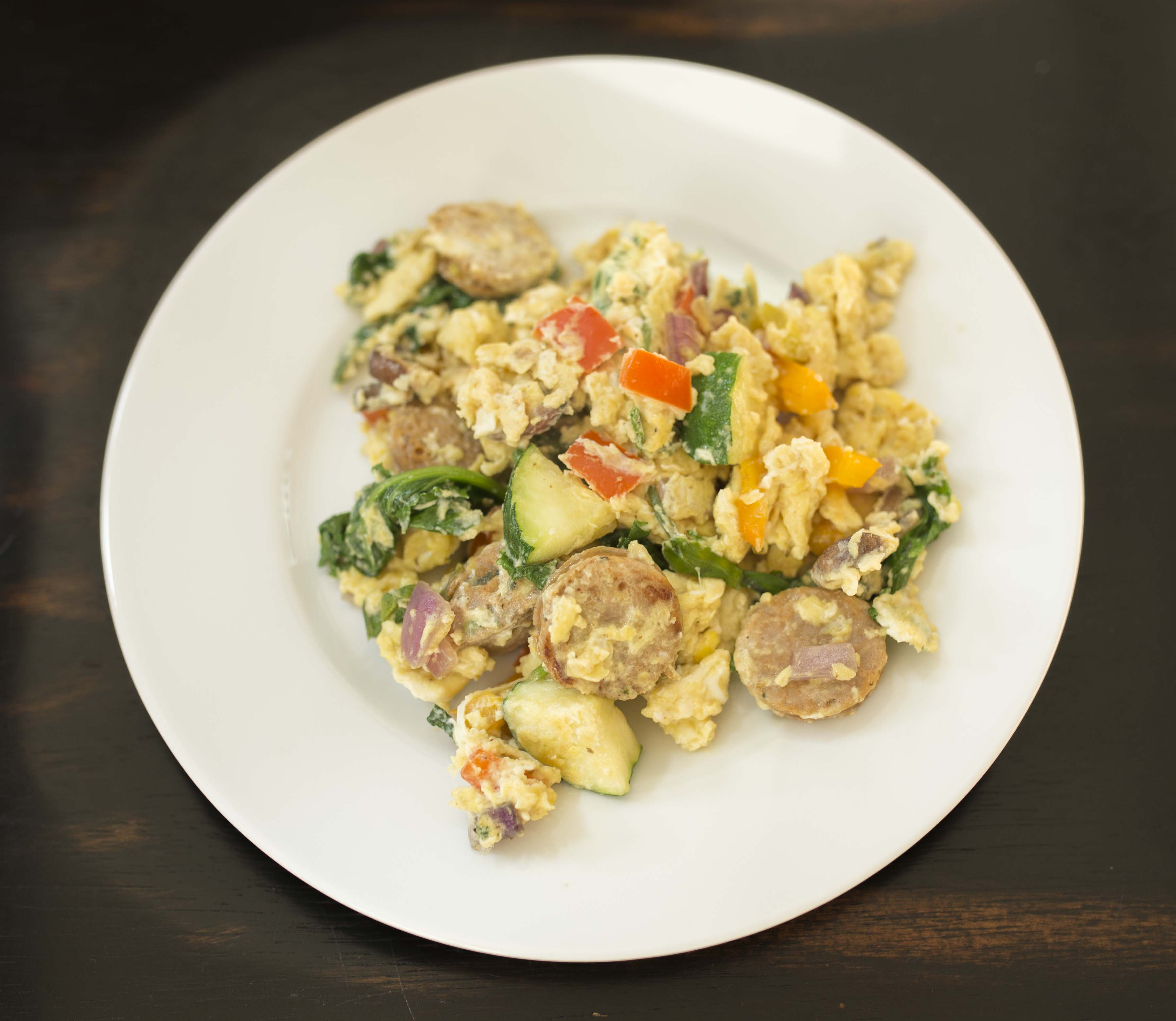 Chicken Sausage and Veggie Omelet