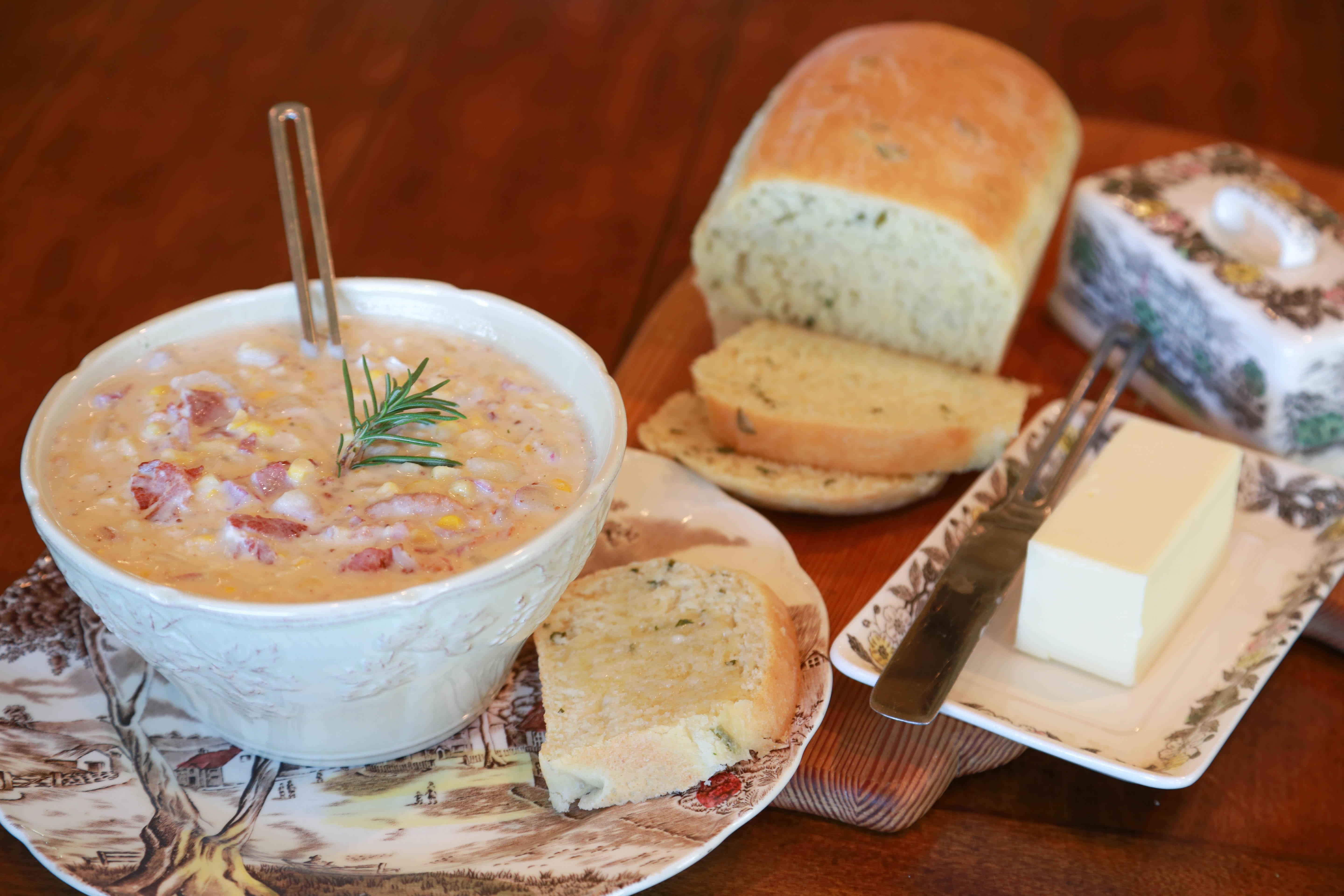 Sherelle's Corn Chowder and Parmesan, Basil and Rosemary Bread