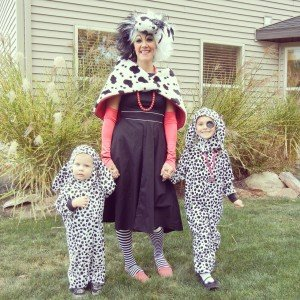 Mother and children dressed up for Halloween