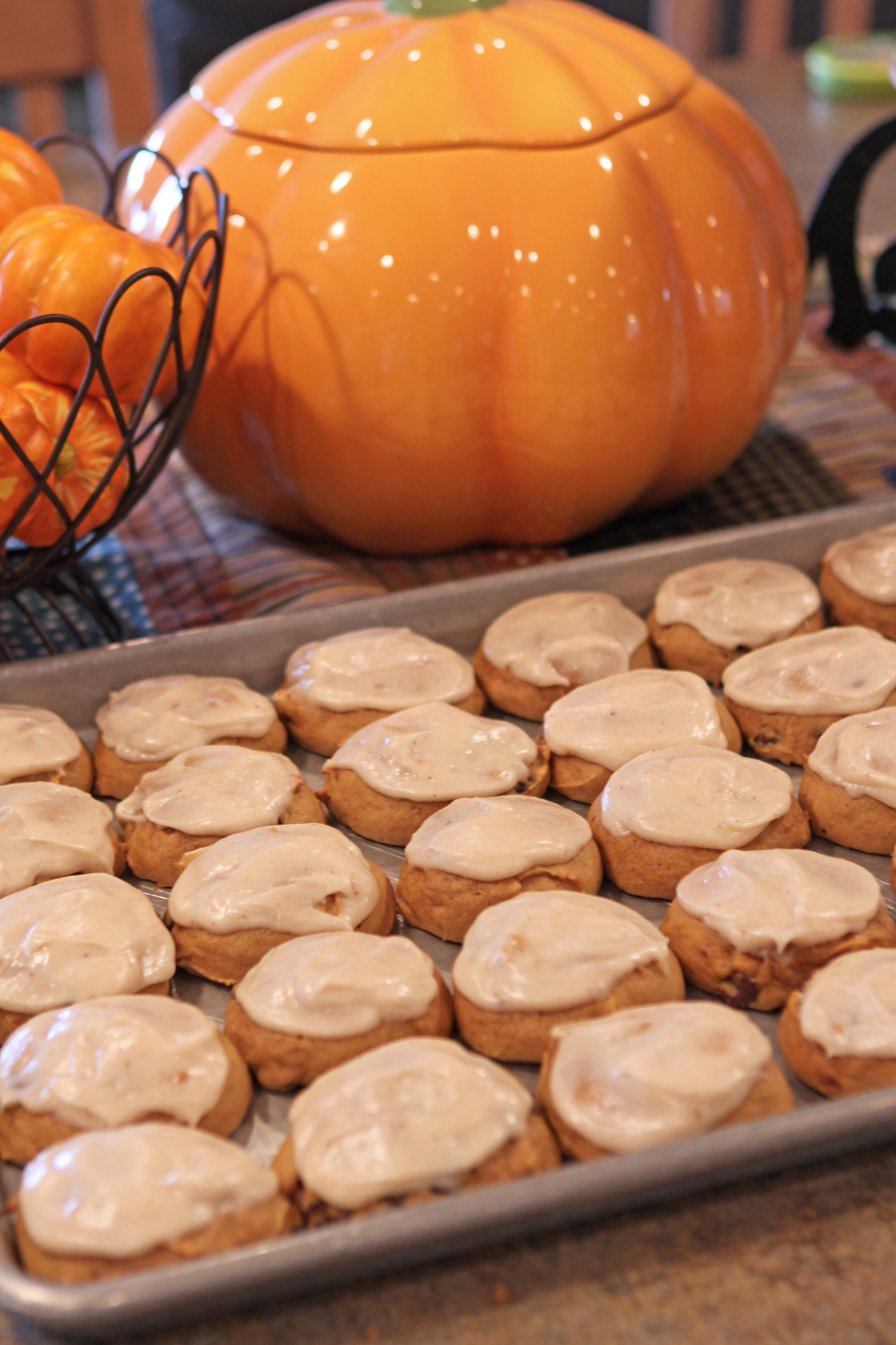 From the Farmer's Wife: Pumpkin Chocolate Chip Cookies with Cinnamon Cream Cheese Frosting