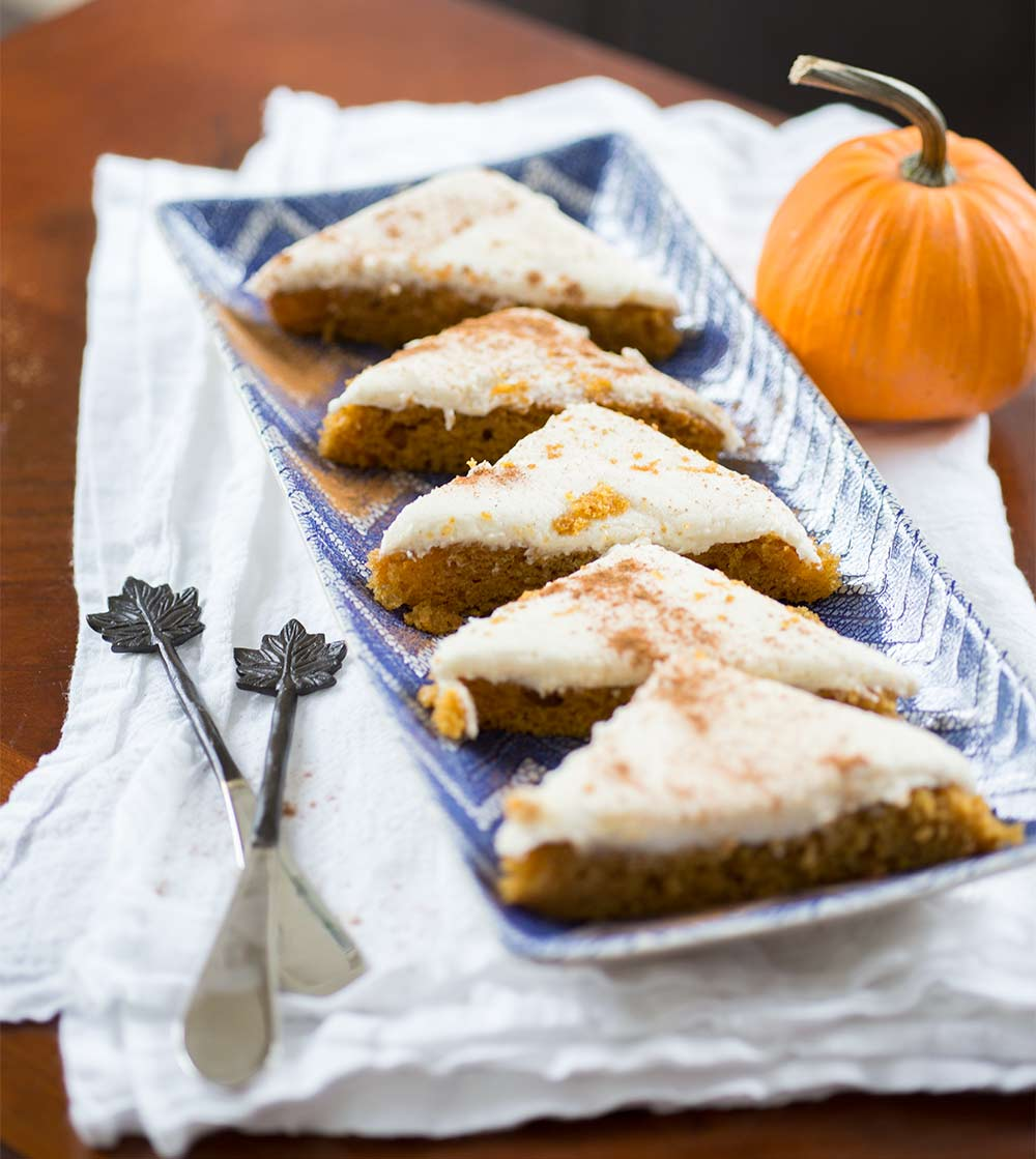 Pumpkin Cake Cream Cheese Bars