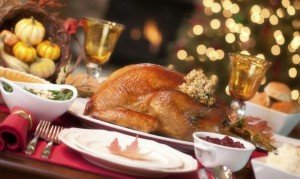 Cooked turkey on table