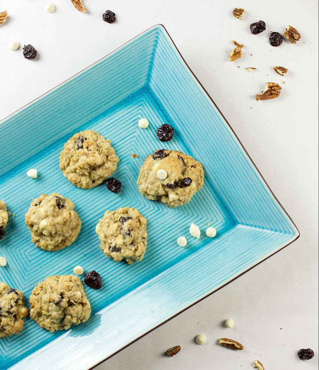 White Chocolate Chip Cookies with Oats and Cherries