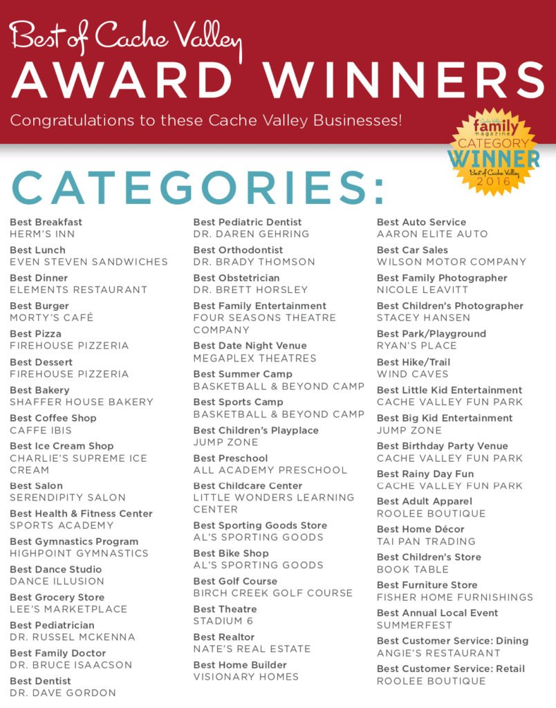 Best of Cache Valley winners