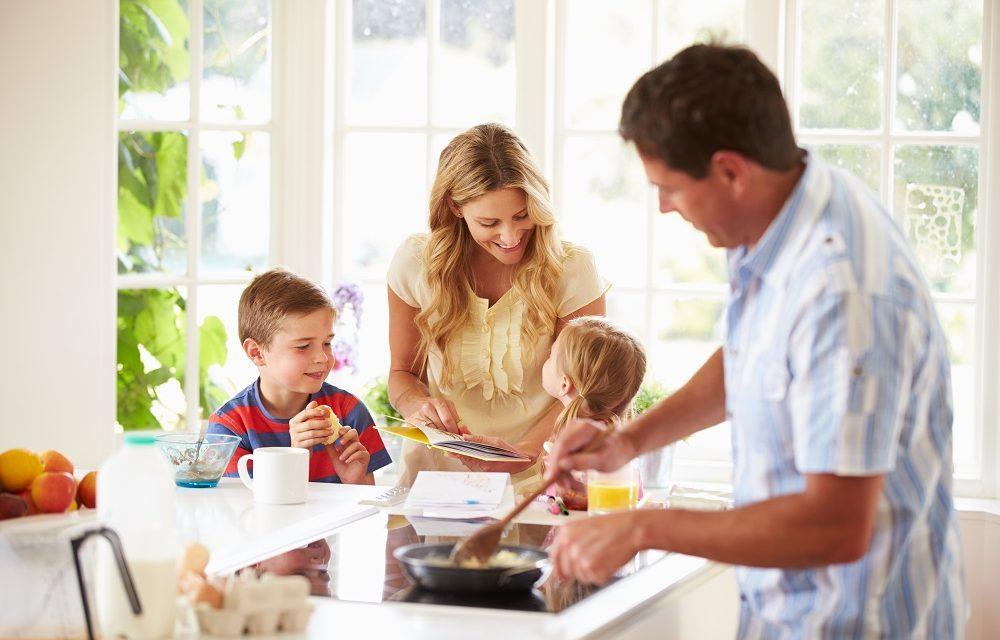 The Breakfast Battle: A Balanced Family Feeding Frenzy
