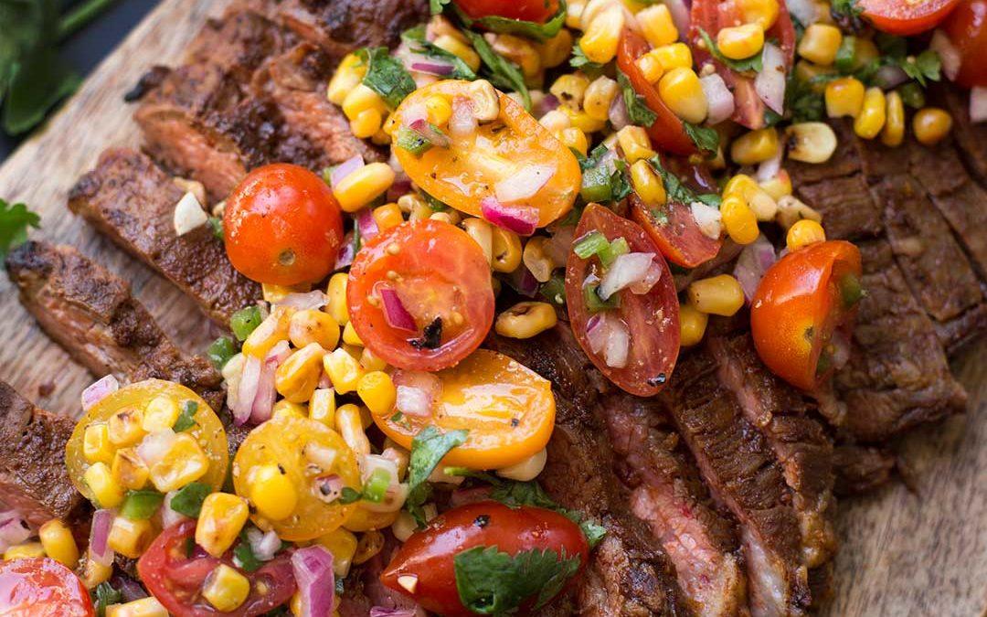 Chili Rubbed Flank Steak with Corn Tomato Salsa