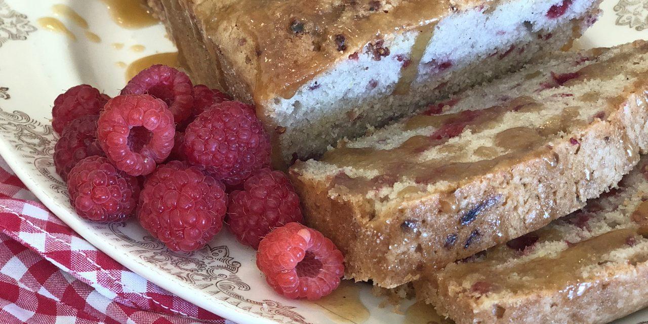 From the Farmer's Wife: Raspberry Pound Cake with Caramel Glaze