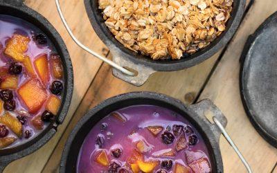 Dutch Oven Mango Blueberry Crisp