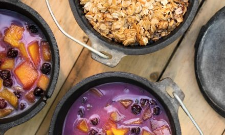 Dutch Oven Mango Blueberry Crisp