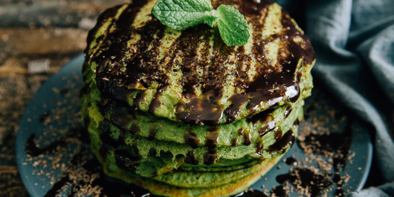 Green Mint Pancakes with Dark Chocolate Sauce