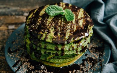 Green Mint Pancakes with Dark Chocolate Sauce